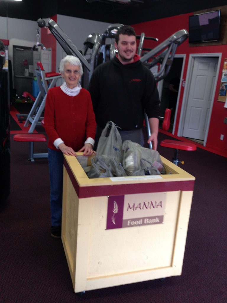 Manna president Sam Robinson and Derek Simson of SNAP Fitness Bracebridge