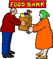 Drawing of one person handing a bag of groceries to another at a Food Bank.