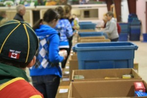 IMG_3734 - Donated food is packed away in bins.