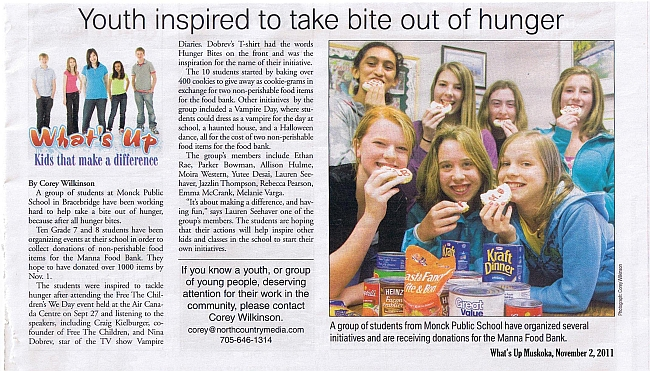 Monck Students take a bite out of hunger--What's Up Muskoka