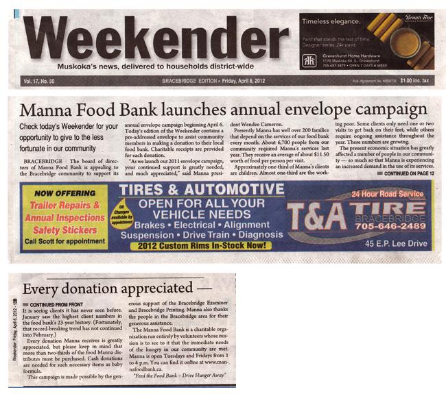 Manna Food Bank's 2012 Envelope Campaign -- Weekender, April 6, 2012