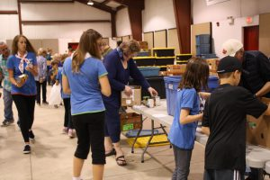 Sorting donations at the Bracebridge Fairgrounds