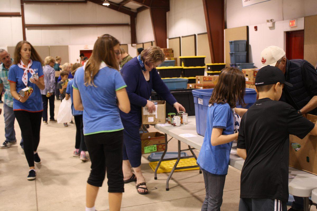 Sorting donations at the Bracebridge Fairgrounds