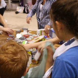 Volunteers from across the community turn out to help.