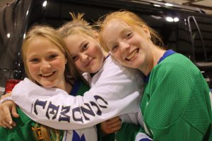 Volunteers Maggie, Sydney and Mackenzie. Great job, girls!