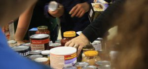 Oldtimers Fall Food Drive - sorting donations