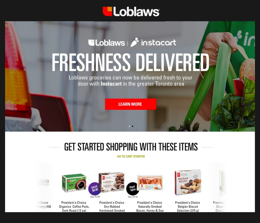 Loblaws Website Homepage