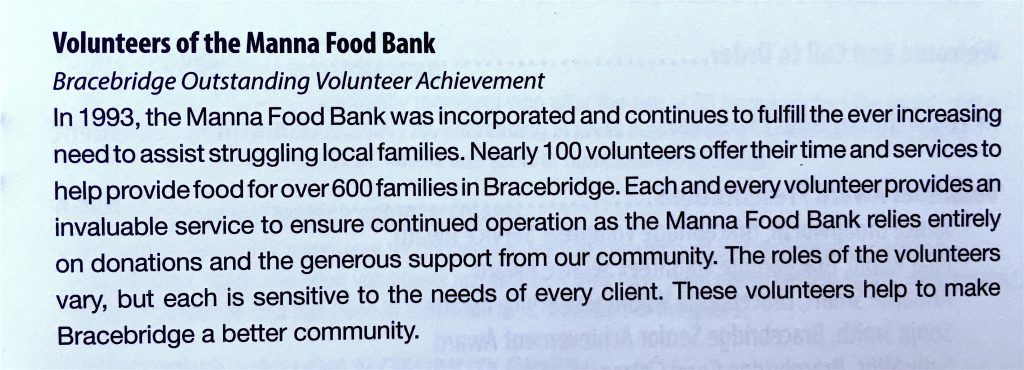 About Manna - Outstanding Volunteer Achievement