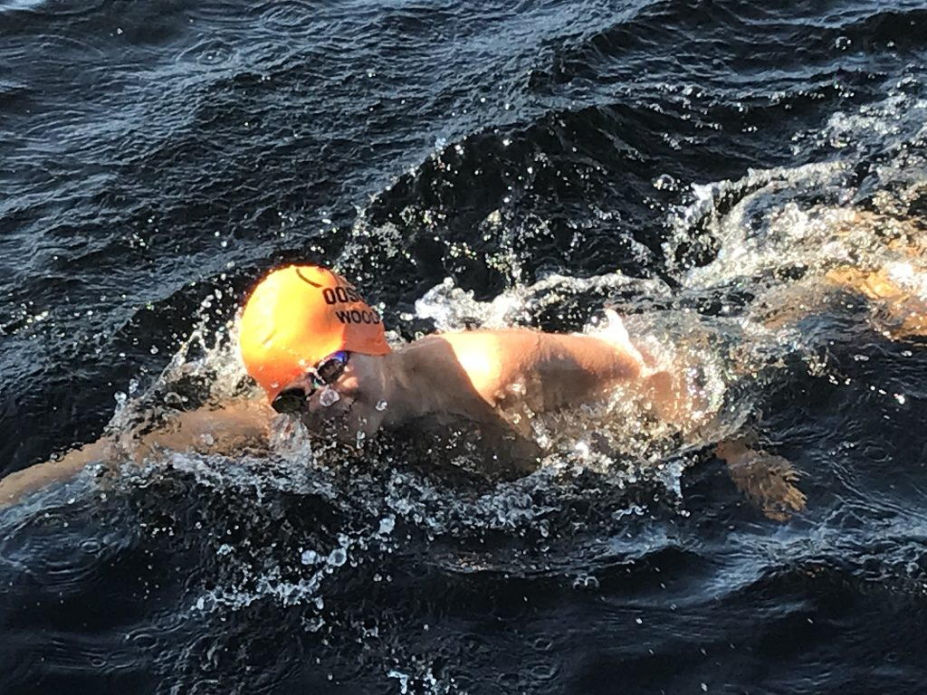 Samuel Wood swims for Manna