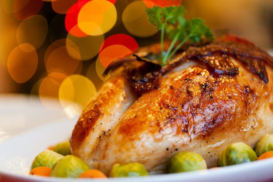 Delicious-looking turkey dinner.
