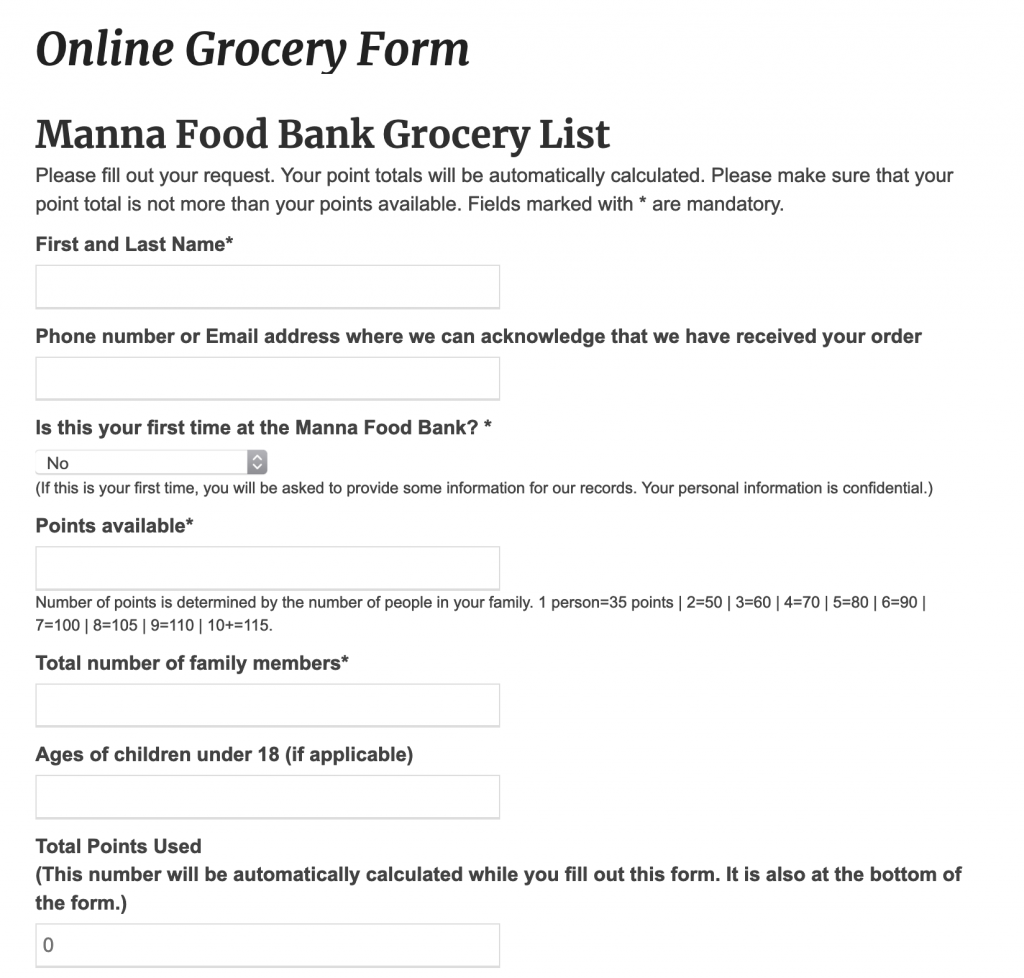 Image of the online grocery form